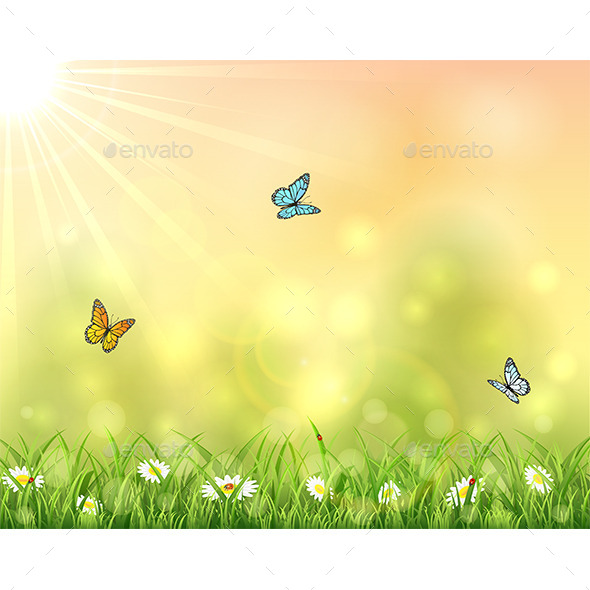 GraphicRiver Nature Background with Three Butterflies 11055596
