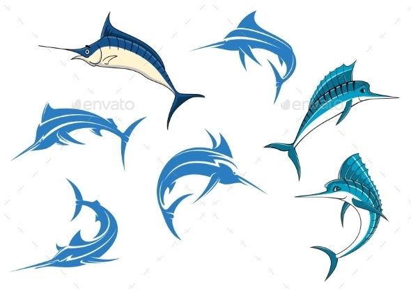 GraphicRiver Blue Marlins or Swordfishes 11056317
