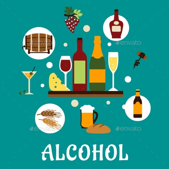 GraphicRiver Flat Alcohol Drinks with Snacks 11056372