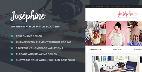 ThemeForest Josephine WordPress Theme For Lifestyle Bloggers 11020235