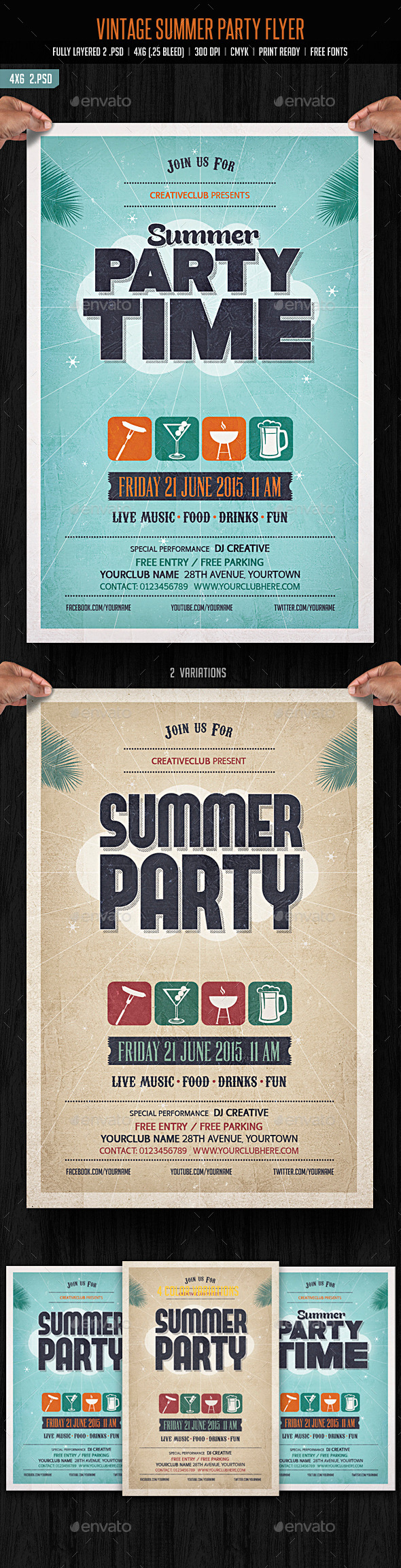 GraphicRiver Vintage Summer Party Flyer 11027568
