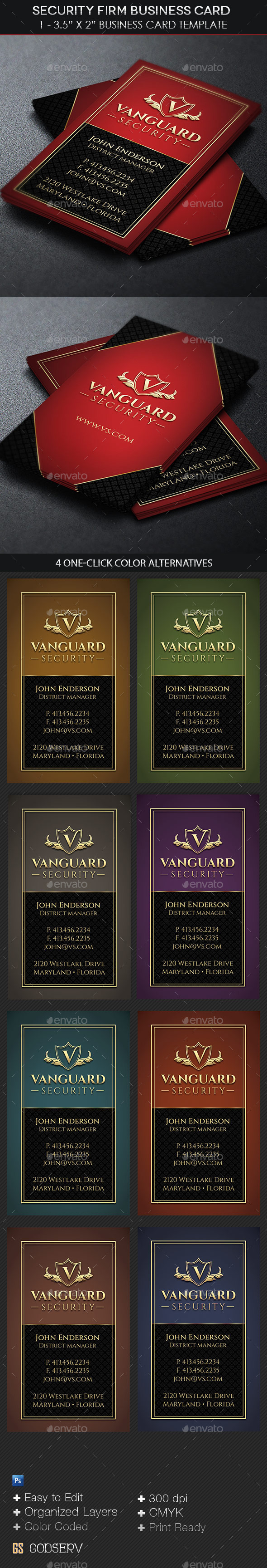 GraphicRiver Security Firm Business Card Template 11057039
