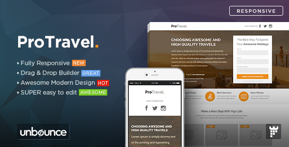 ThemeForest ProTravel Travel Agency Unbounce Template 11057046