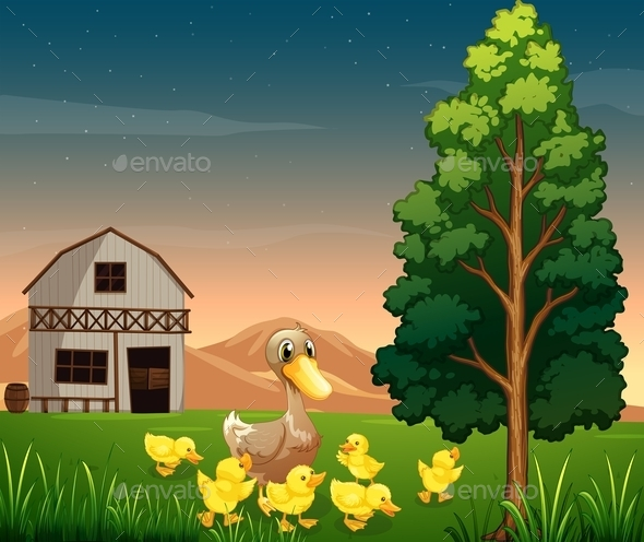 GraphicRiver Duck and Her Ducklings Across the Barnhouse 11057056