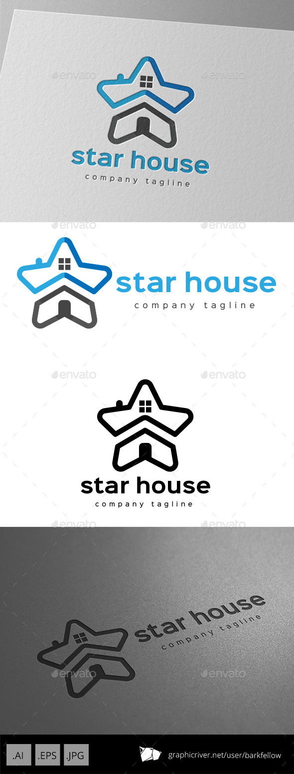 GraphicRiver Star House Logo Design 11057075