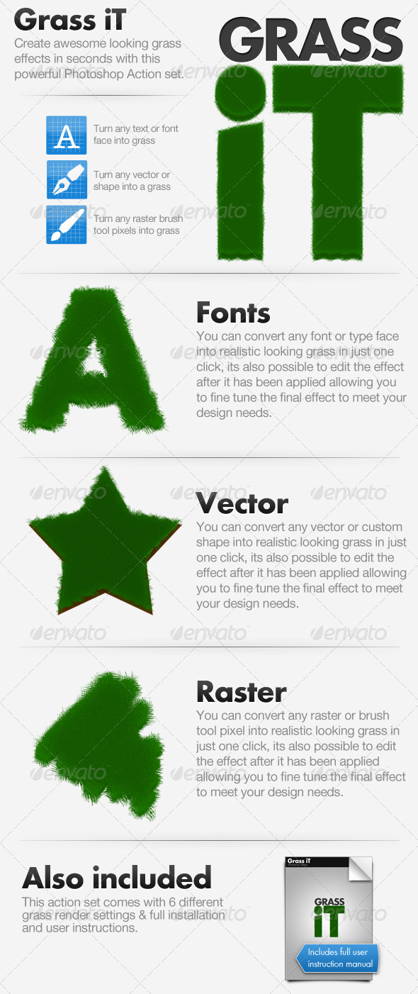 Grass iT - Photoshop Action - Text Effects Actions