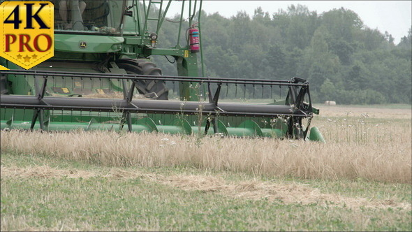 A Wheat Harvester Machine Rolling on the Field