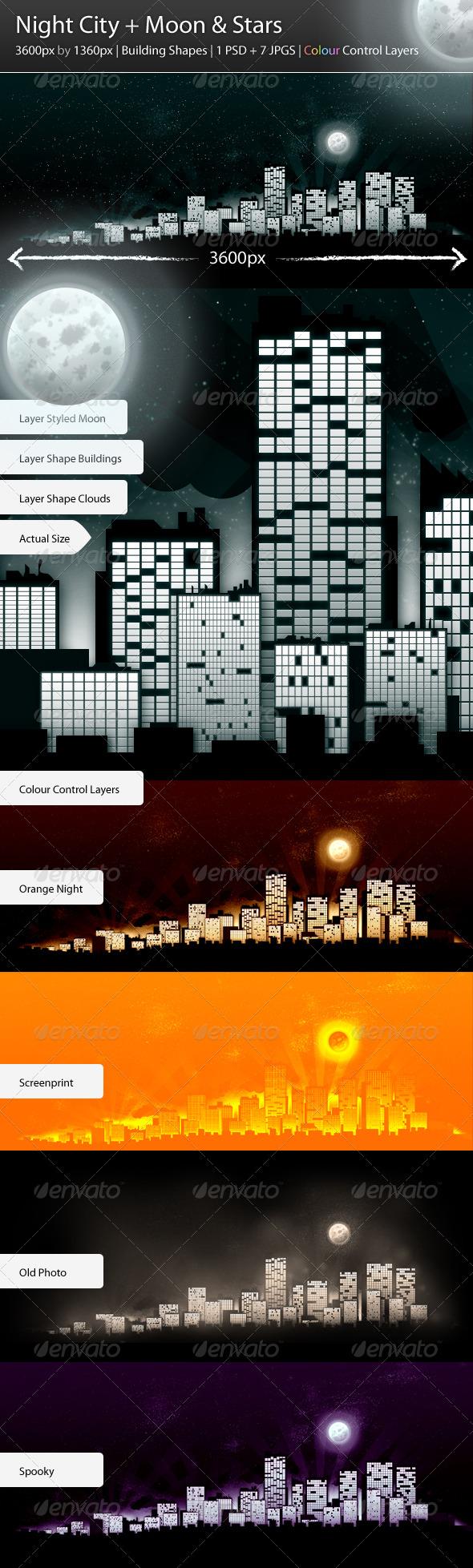 GraphicRiver Night City & Moon & Stars 136954