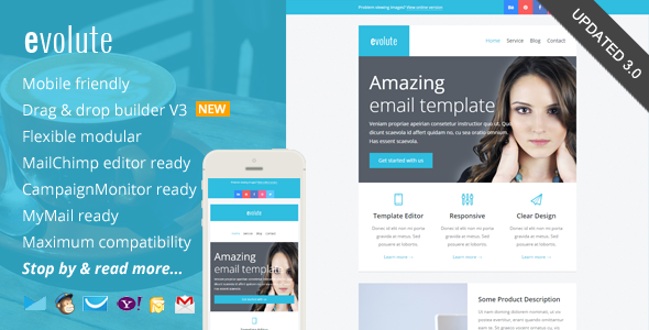 Evolute, Responsive Newsletter + Template Editor