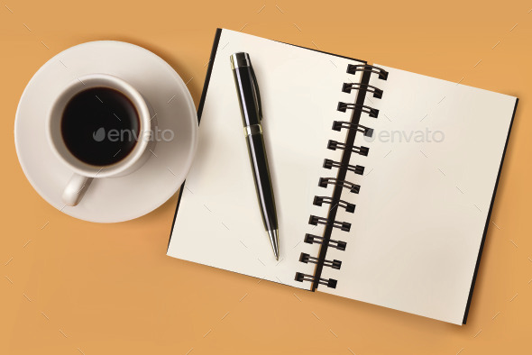 GraphicRiver Open Notebook with Coffee 11057646