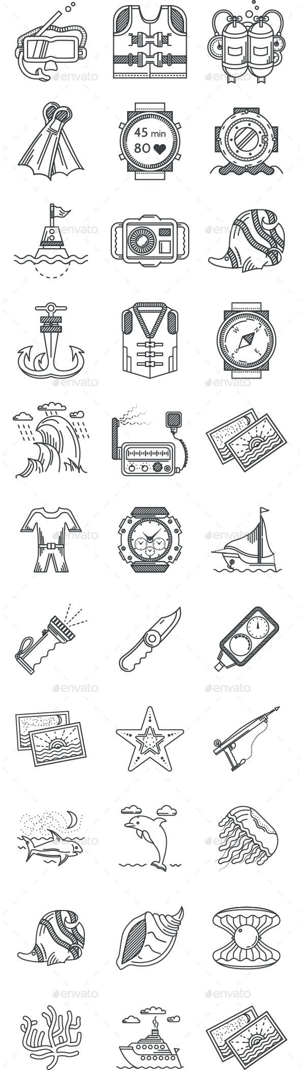 GraphicRiver Diving Icons 11057820