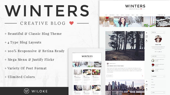 ThemeForest Winters A Responsive Wordpress Blog Theme 11012757