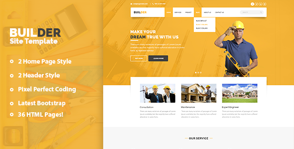 Builder - Construction and Builder HTML Template