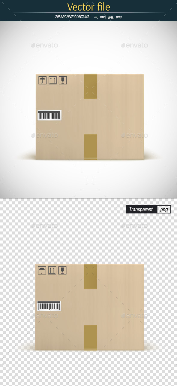 GraphicRiver Cardboard Box With the Bar Code and Tape 11058494