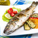 fish, sea bass grilled with lemon and grilled vegetables - PhotoDune Item for Sale