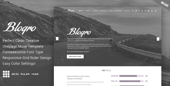 ThemeForest Blogro One Page Personal Muse Templates 11001398