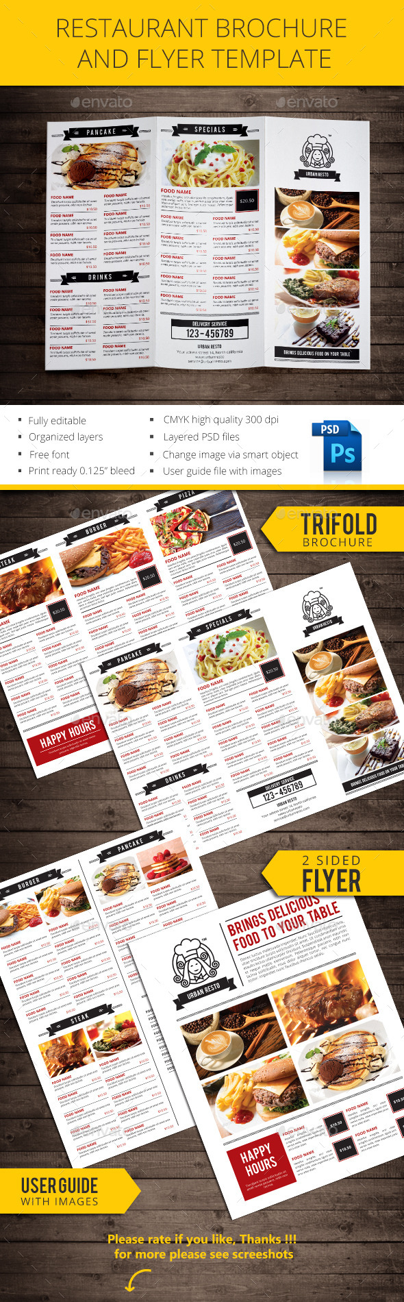 GraphicRiver Restaurant Brochure and Flyer 11059436