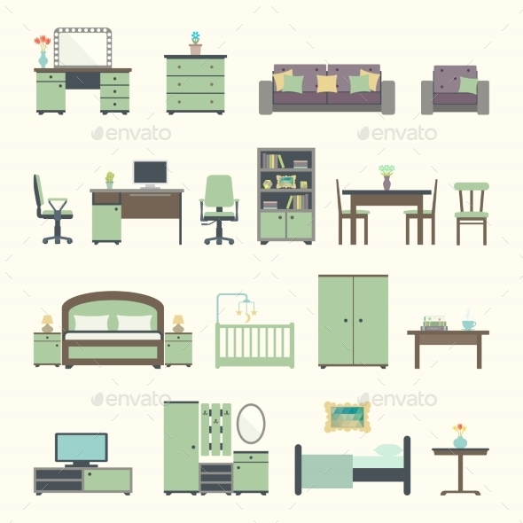 GraphicRiver Furniture Interior Flat Icons 11059928