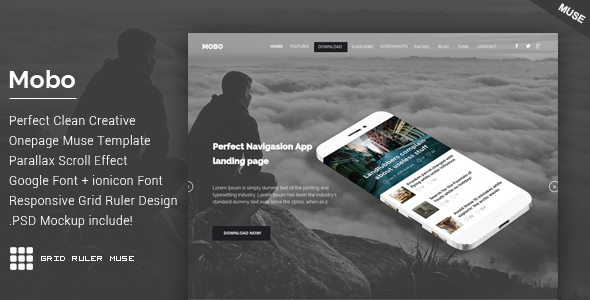 ThemeForest Mobo One Page Parallax Muse Theme 11060001