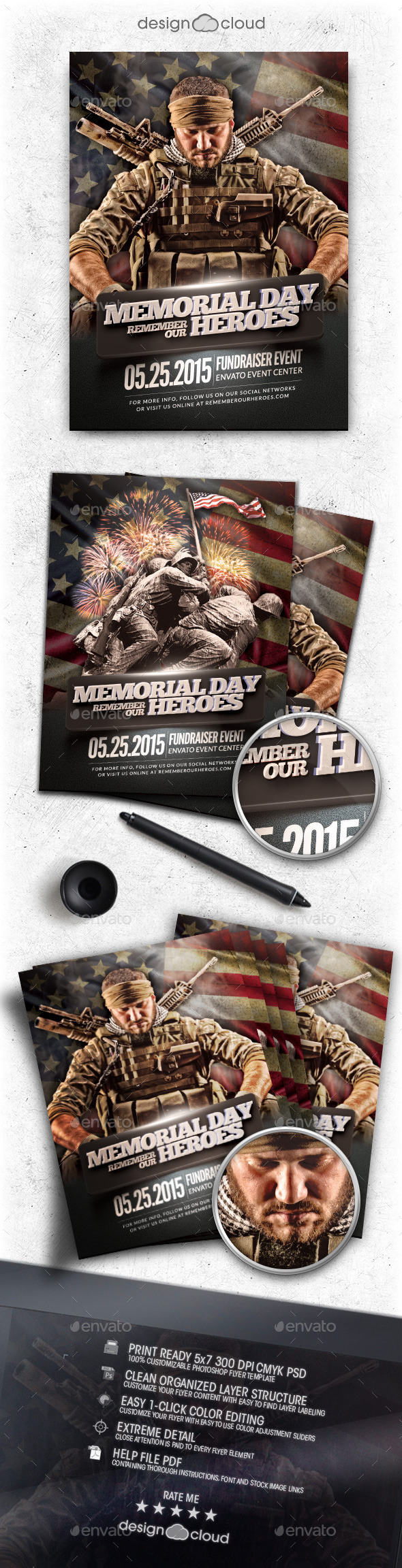GraphicRiver Memorial Day Remember Event Flyer Template 11060644