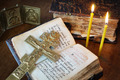 Orthodox Christian still life with metal crucifixion and ancient book - PhotoDune Item for Sale