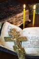 Orthodox Christian still life with old metal crucifixion and ancient book - PhotoDune Item for Sale