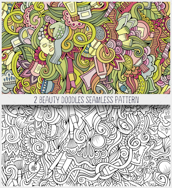 GraphicRiver Beauty and Cosmetics Doodles Seamless Patterns 11060975