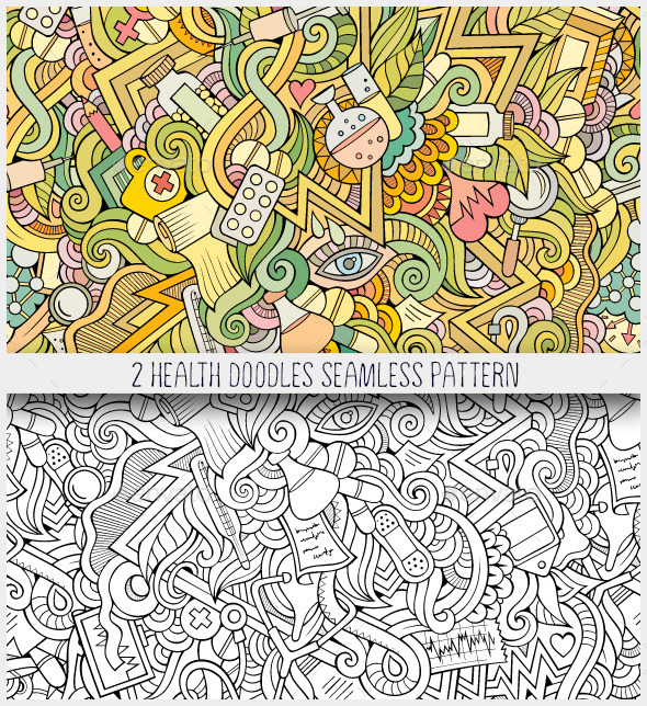 GraphicRiver 2 Medical and Health Doodles Seamless Patterns 11060989