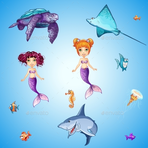 GraphicRiver Set of Cartoon Underwater Inhabitants 11060997