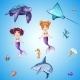 Set of Cartoon Underwater Inhabitants - GraphicRiver Item for Sale