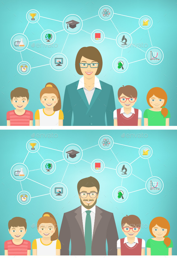 GraphicRiver Modern Teacher and Kids 11061274