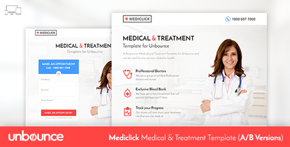 ThemeForest Unbounce Medical Landing Page Template Mediclick 11061361