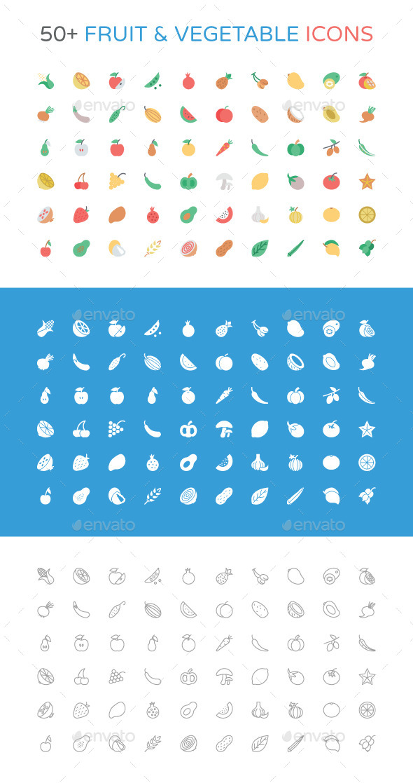 GraphicRiver 50& Fruit and Vegetable Icons 11062167