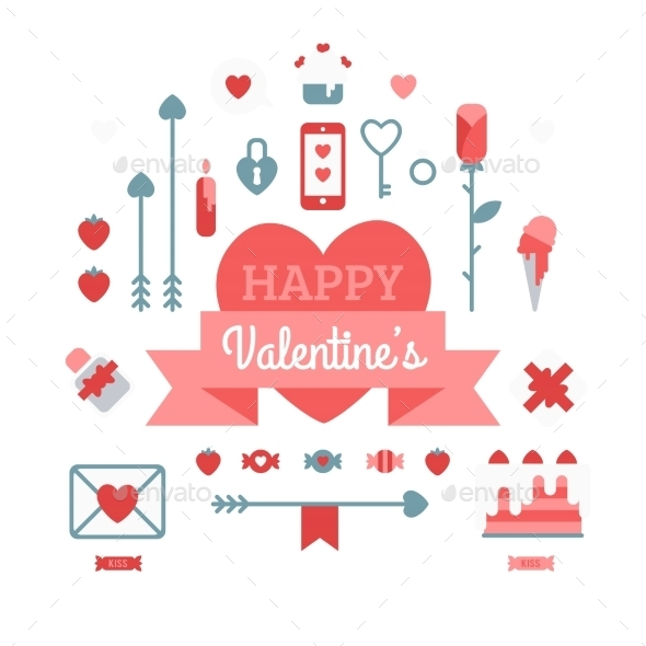 GraphicRiver Set of Happy Valentine s Day Icons 11062191