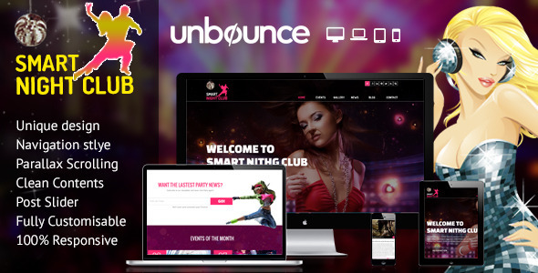 ThemeForest Nightclub Unbounce Responsive Landing Page 11062196