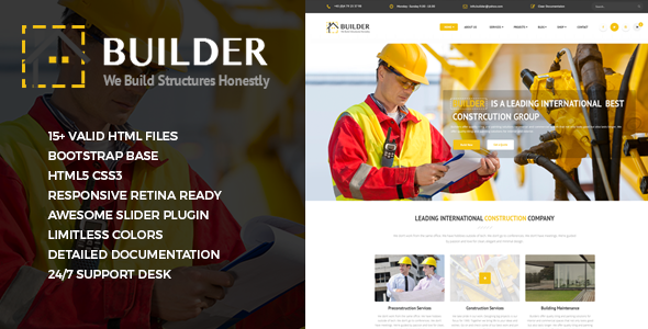 ThemeForest Builder Responsive Construction Site Template 11062294
