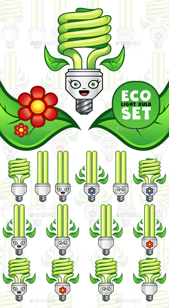 GraphicRiver Eco Light Bulb Set 11062462