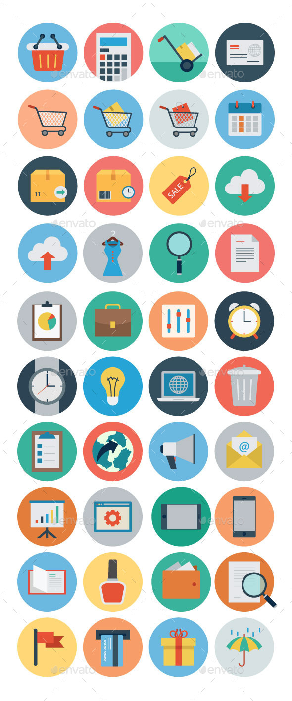 GraphicRiver 40 Flat Shopping and Commerce Icons 11062498