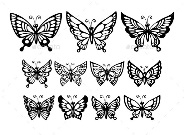 GraphicRiver Butterfly Silhouettes 11062674