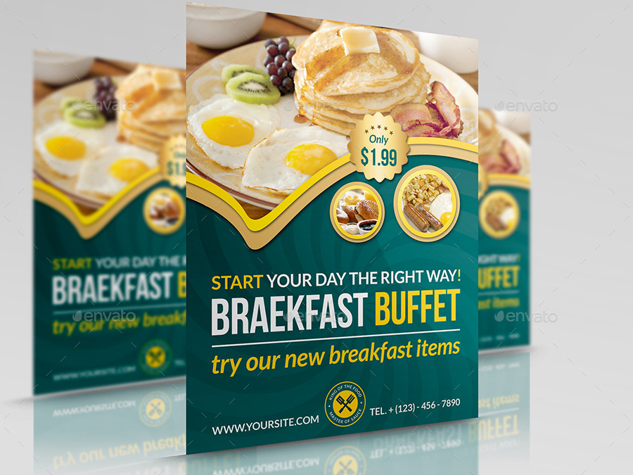 Breakfast Restaurant Flyer Template By Owpictures