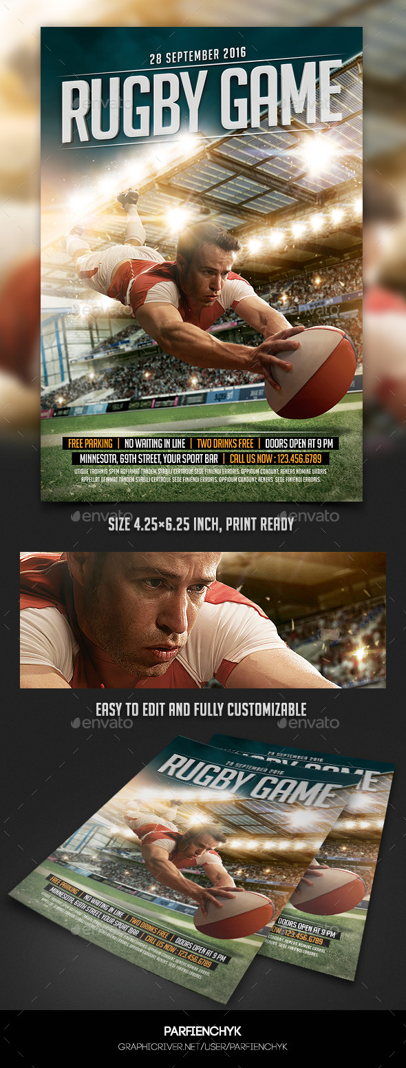 GraphicRiver Rugby Game Sport Flyer Template 11062928