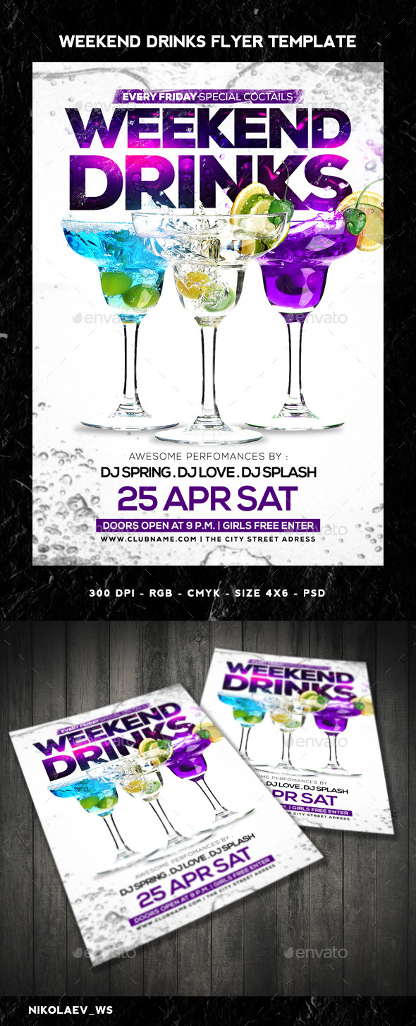 GraphicRiver Weekend Drinks Flyer 11063246