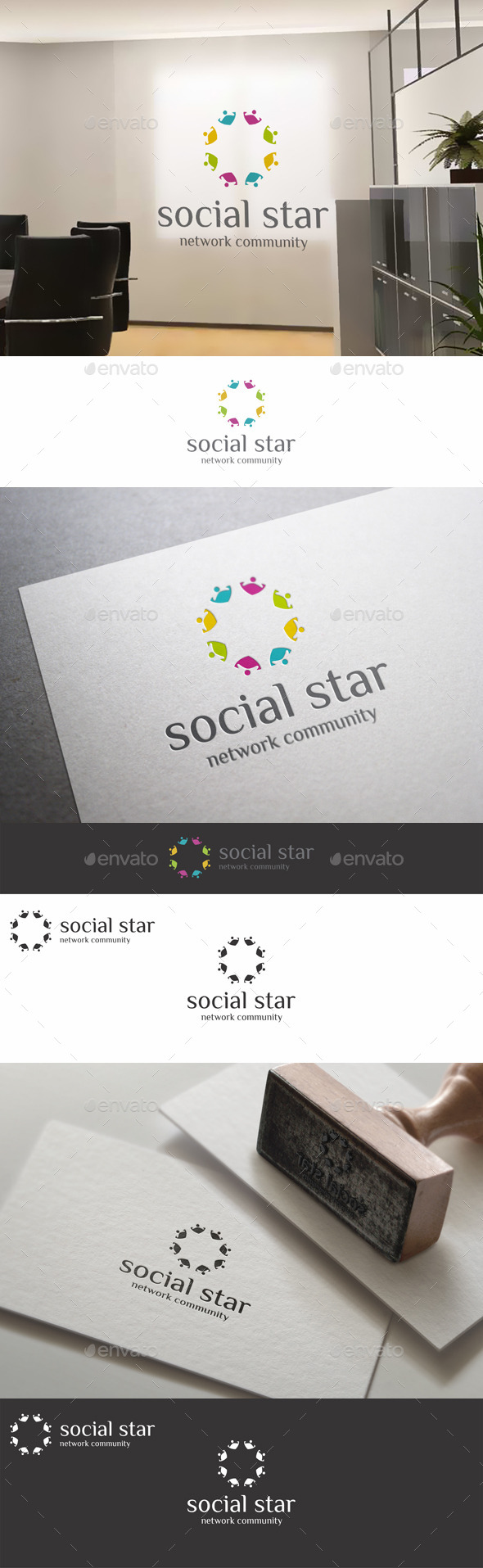 GraphicRiver Social Star Teamwork Community Logo 11063625