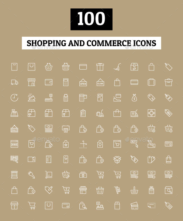 GraphicRiver 100 Shopping and Commerce Icons 11063759