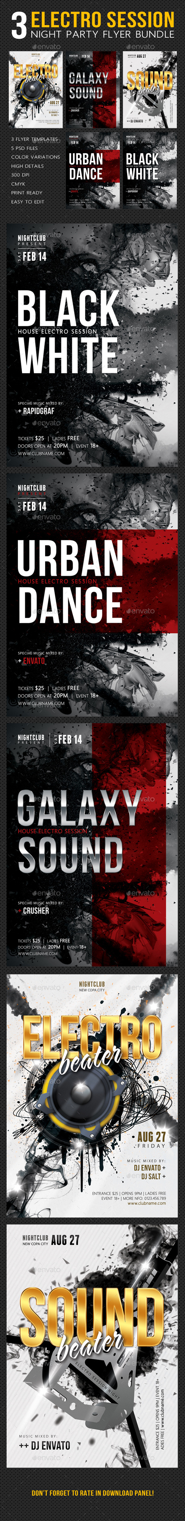 GraphicRiver 3 Electro Session Night Party Flyer Bundle 11063902