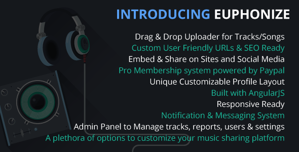 CodeCanyon Euphonize Music Sharing & Social Platform 11064436