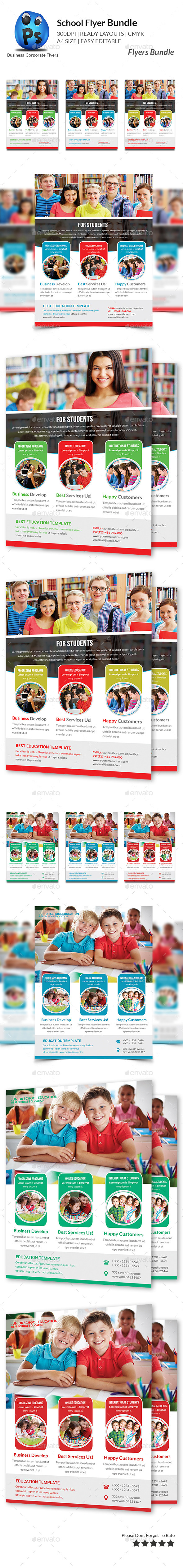 GraphicRiver School Education Flyers Bundle 11064598