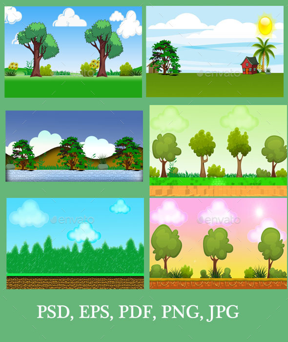 GraphicRiver Platform & Natural Game Backgrounds 11064608