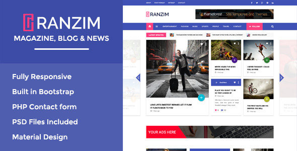 ThemeForest Ranzim Magazine News Responsive HTML Template 11044856