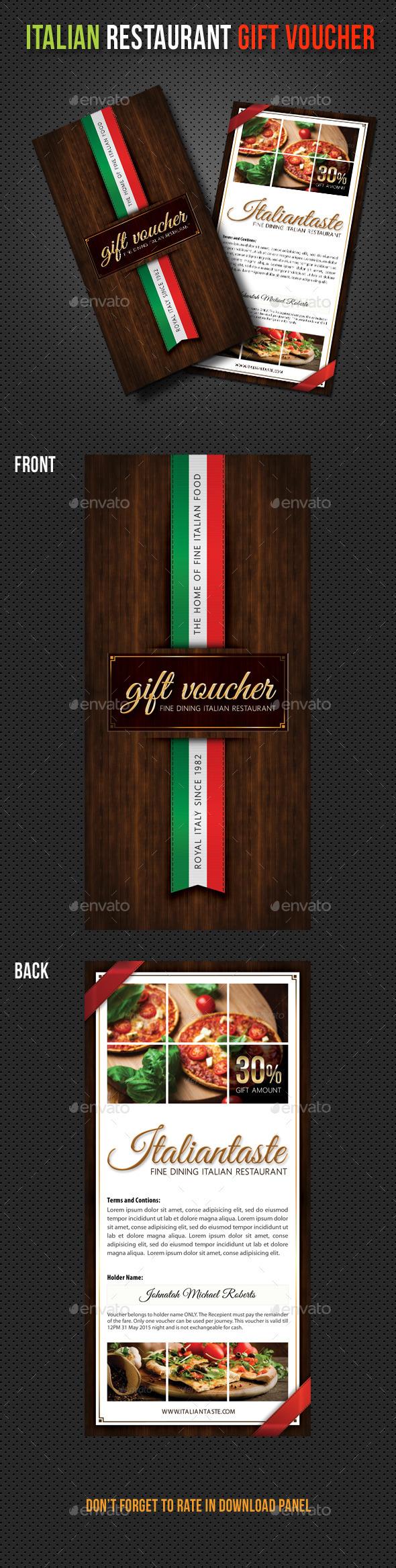 GraphicRiver Italian Restaurant Menu Gift Voucher 11065341